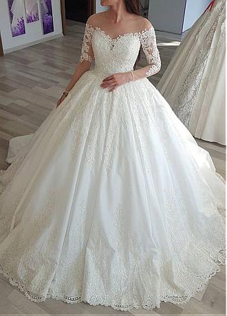 Alluring Tulle Jewel Neckline Long Sleeves Ball Gown Wedding Dress With Lace Appliques & Beadings