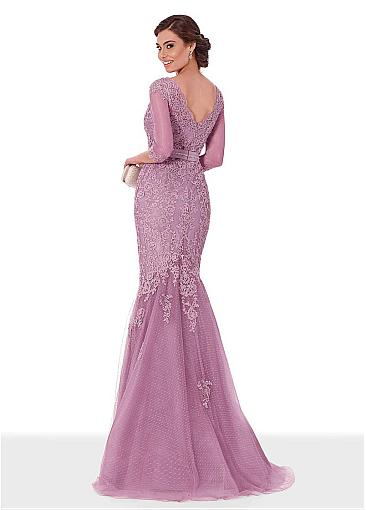Fascinating Tulle Scoop Neckline 3/4 Length Sleeves Mermaid Evening Dress With Beaded Lace Appliques