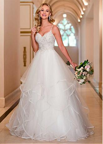 Glamorous Tulle Spaghetti Straps Neckline A-line Wedding Dress With Beaded Lace Appliques & Ruffles