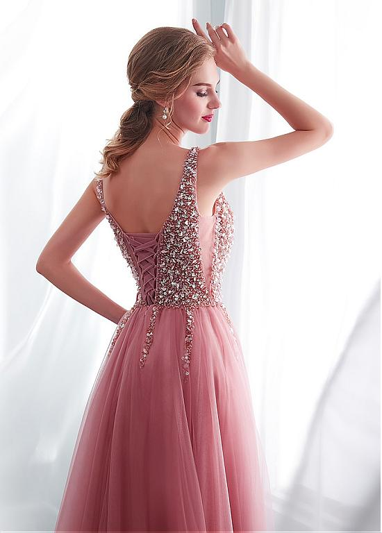 In Stock Delicate Tulle V-neck Neckline A-line Evening Dress With Beadings