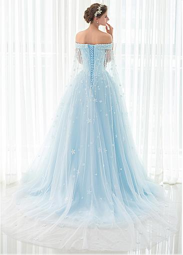 In Stock Attractive Tulle Off-the-shoulder Neckline A-line Prom Dress With Beadings & Lace Appliques