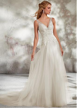 Exquisite Tulle V-neck Neckline A-line Wedding Dress With Lace Appliques & Beadings