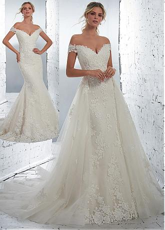Junoesque Tulle Off-the-shoulder Neckline 2 In 1 Wedding Dress With Lace Appliques & Beadings