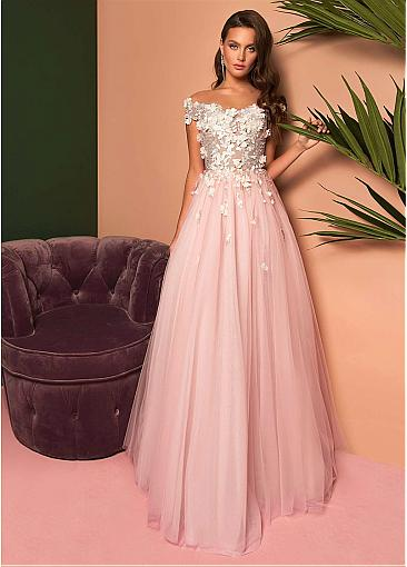 Modest Tulle Off-the-shoulder Neckline Floor-length A-line Prom Dress With Beadings & Lace Appliques & 3D Flowers