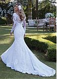 Amazing Tulle & Lace V-neck Neckline Mermaid Wedding Dress With Beadings & Lace Appliques