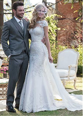 Elegant Tulle Jewel Neckline 2 In 1 Wedding Dress With Lace Appliques & Beadings & Detachable Skirt