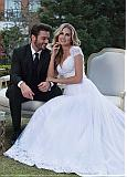 Fashionable Tulle & Satin V-neck Neckline 2 In 1 Wedding Dress With Lace Appliques & Beadings & Detachable Skirt