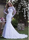 Exquisite Tulle Off-the-shoulder Neckline Mermaid Wedding Dress With Lace Appliques & Beadings