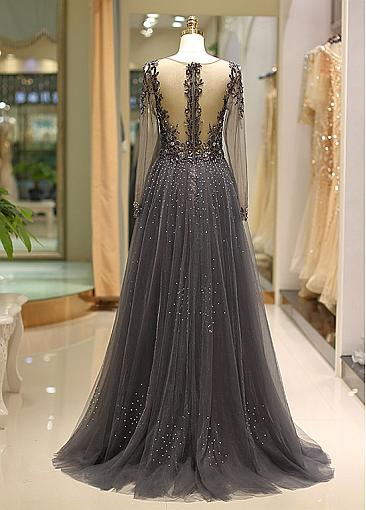 Winsome Tulle V-neck Neckline Floor-length A-line Evening Dress With Beadings