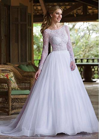 Sparkling Tulle Bateau Neckline See-through Bodice A-line Wedding Dresses With Beaded Embroidery