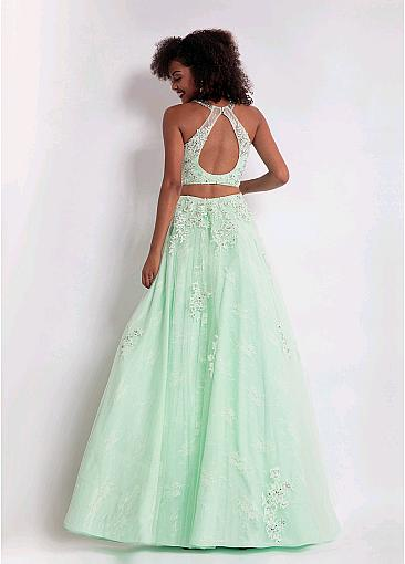 Gorgeous Tulle Jewel Neckline Floor-length A-line Prom Dresses With Beaded Lace Appliques