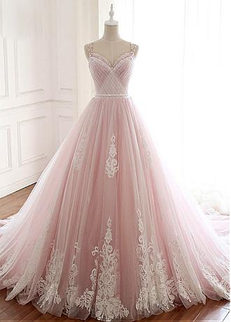 Eyecatching Tulle Spaghetti Straps Neckline A-line Wedding Dresses With Lace Appliques & 3D Flowers & Beadings