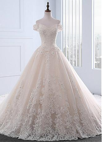 Stunning Tulle Off-the-shoulder Neckline A-line Wedding Dresses With Lace Appliques & 3D Flowers & Beadings