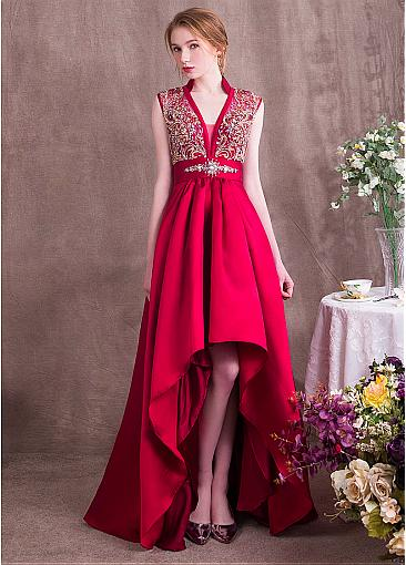 Chic Tulle & Satin V-neck Neckline Hi-lo A-line Prom Dresses With Beadings
