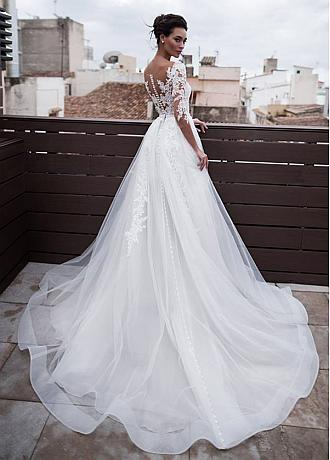 Marvelous Tulle & Organza Jewel Neckline 2 In 1 Wedding Dresses With Detachable Skirt & Lace Appliques & Beadings