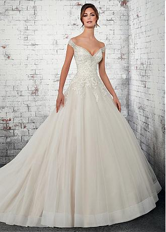Fabulous Tulle Off-the-shoulder Neckline A-line Wedding Dresses With Beadings & Lace Appliques