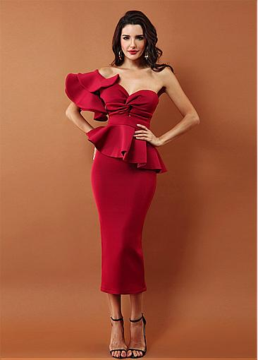 In Stock Showy Cotton One Shoulder Neckline Tea-length Sheath/Column Cocktail Dresses With Peplum