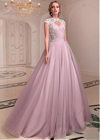 Alluring Tulle High Collar Ball Gown Wedding Dresses With Beaded Lace Appliques