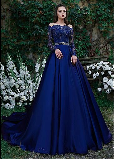 Beautiful Tulle & Satin Off-the-shoulder Neckline Floor-length A-line Evening Dresses With Belt & Beaded Lace Appliques