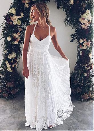Fabulous Lace Halter Neckline A-line Wedding Dresses With Beadings