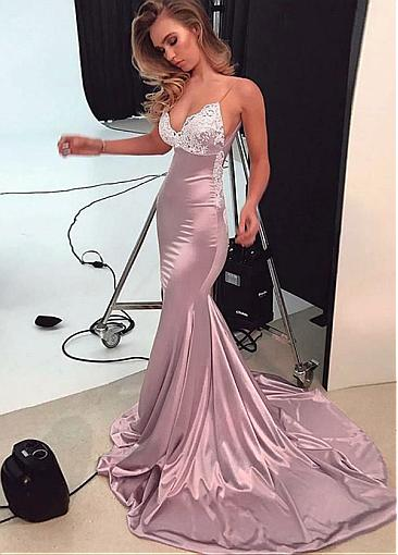 Stunning Tulle & Stretch Satin Spaghetti Straps Neckline Floor-length Mermaid Evening Dresses With Lace Appliques