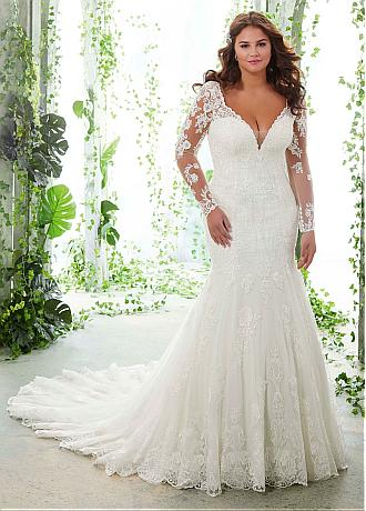 Modern Tulle V-neck Neckline Mermaid Plus Size Wedding Dresses With Lace Appliques