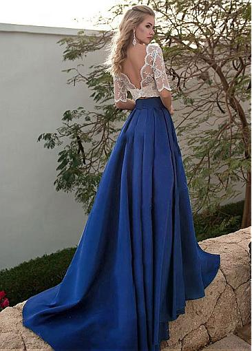 Brilliant Tulle & Satin Bateau Neckline Floor-length A-line Prom Dresses With Beaded Lace Appliques & Pockets