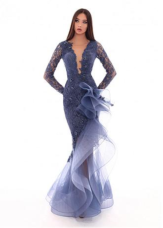 Beautiful Tulle & Lace Jewel Neckline Mermaid Evening Dresses With 3D Flowers & Beadings