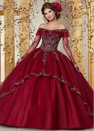 Dignified Tulle Off-the-shoulder Neckline Ball Gown Quinceanera Dresses With Embroidery & Beadings